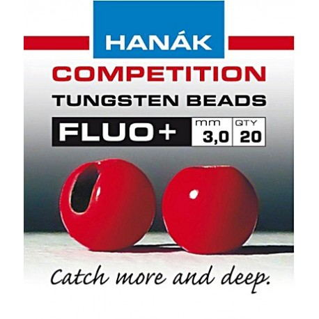Hanak Fluo 3.0mm Red Tungsten Beads