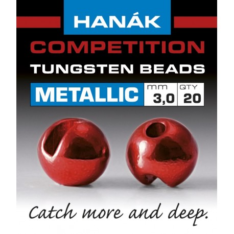 Hanak Metallic + Red Competition Tungsten Beads